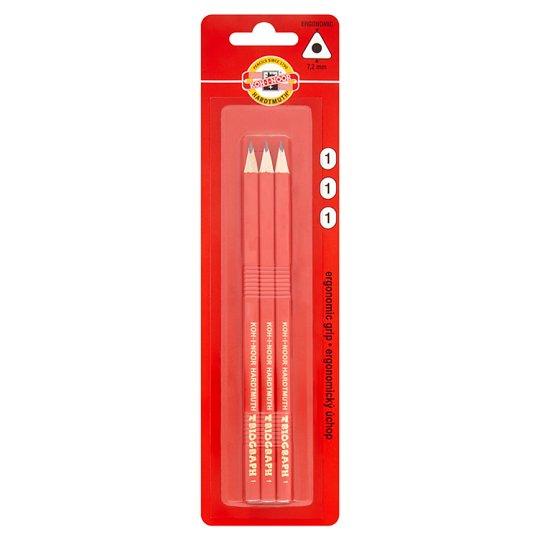 KOH-I-NOOR Triangular Graphite Pencil Hardness 1 3 pcs