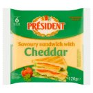 Président Cheddar Processed Cheese Slices 120g