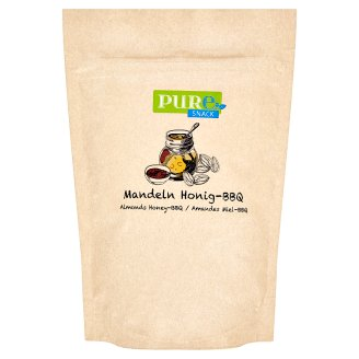Pure Snack Roasted Slices of Blanched Almond Kernels with Honey, Salt and Flavor of Barbecue 125g