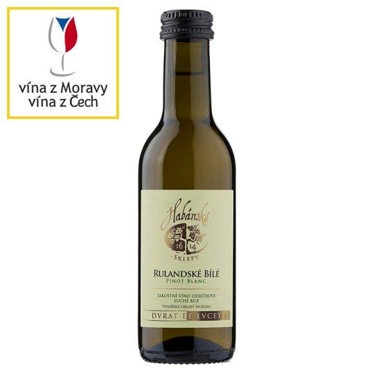 Habánské Sklepy Rulandské bílé jakostní odrůdové suché bílé víno 0,187l