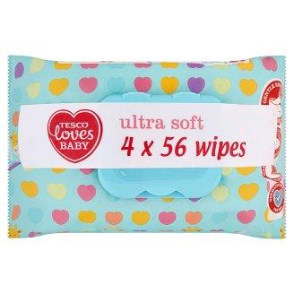 Tesco Loves Baby Ultra soft vlhčené ubrousky neparfémované 4 x 56 ks