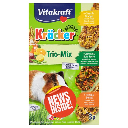 Vitakraft Kräcker TrioMix Guinea Pig - Citrus & Vegetables & Honey 3 x 56g