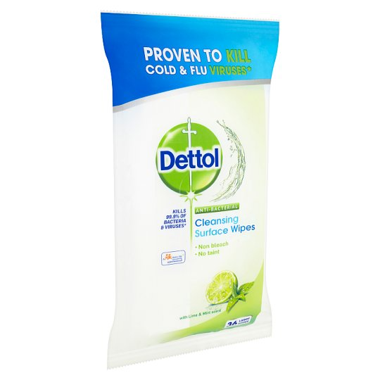 Dettol Antibacterial Cleansing Surface Wipes with Lime & Mint Scent 36 pcs
