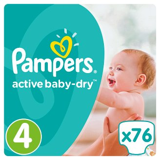 Pampers Active Baby-Dry Dětské Plenky Velikost 4 (Maxi), 76 ks