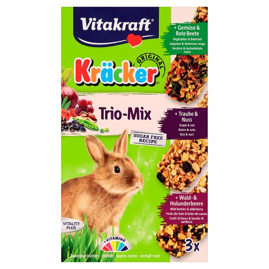 Vitakraft Kräcker Trio-mix králik - zelenina & ořech & lesní plody 3 x 56g