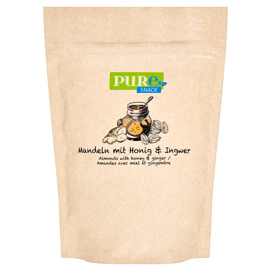 Pure Snack Roasted Slices of Blanched Almond Core with Honey, Salt and Ginger 125g