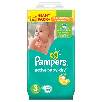 Pampers Active Baby-Dry Size 3 (Midi) 5-9 kg, 124 Nappies