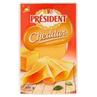 Président Cheddar plátkový sýr 100g