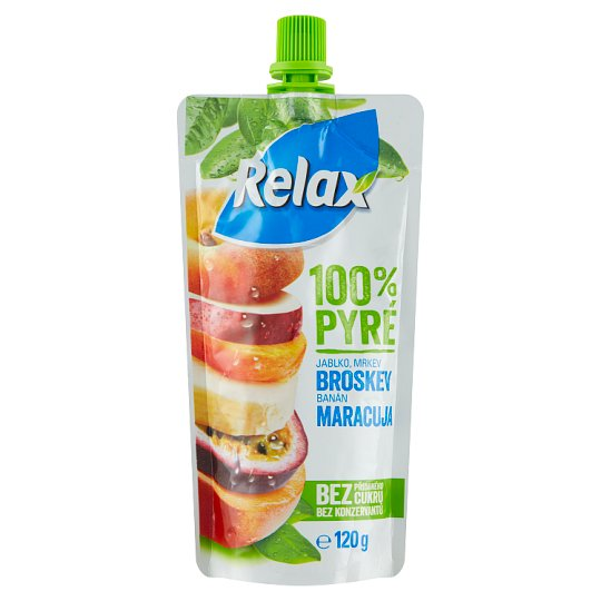 Relax 100% Puree Peach Apple Carrot Banana Passion Fruit 120g