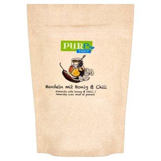 Pure Snack Pražené plátky blanšírovaných jader mandlí s medem, solí a s příchutí chilli 125g