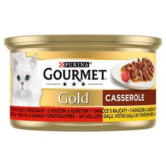 GOURMET Gold s hovězím a kuřetem v omáčce s rajčaty 85g