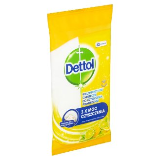 Dettol Power & Fresh Antibacterial Multipurpose Wipes of Lemon and Lime 32 pcs