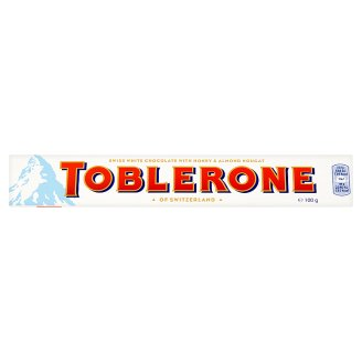 Toblerone Swiss White Chocolate with Honey & Almond Nougat 100g