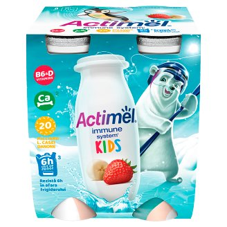 Danone Actimel Kids Banana-Strawberry Yogurt Milk 4 x 100g