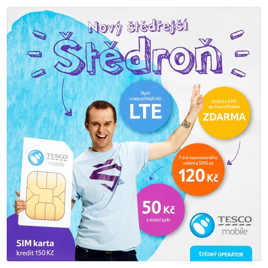 Tesco Mobile Štědroň SIM Card Credit 150 CZK