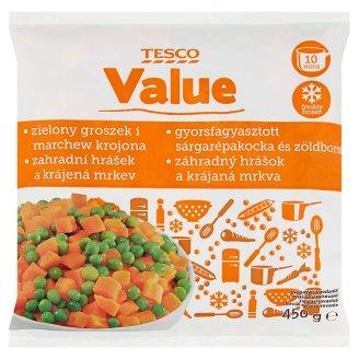 Tesco Value Zahradní hrášek a krájená mrkev hluboce zmrazeno 450g