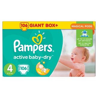 Pampers Active Baby-Dry Size 4 (Maxi) 8-14 kg, 106 Nappies