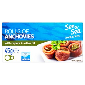 Sun & Sea Rolls of Anchovies with Capers in Olive Oil 45g