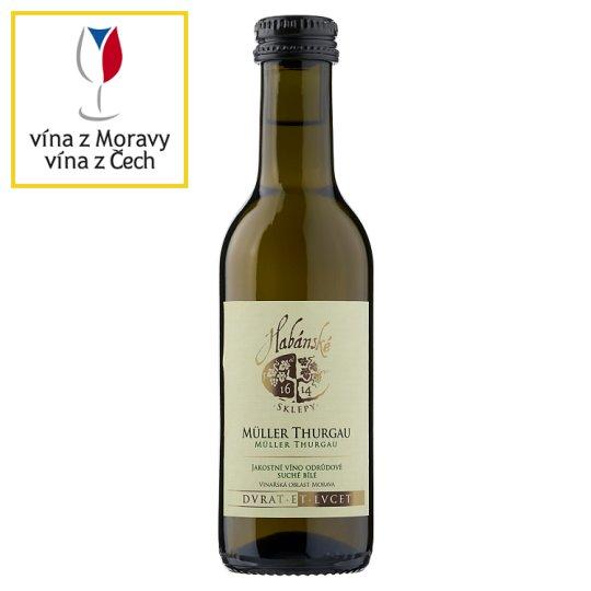 Habánské Sklepy Müller thurgau jakostní víno odrůdové suché bílé 0,187l