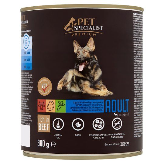 Tesco Pet Specialist Premium Feed for Adult Dogs Luncheon Meat Rich in Beef and Vegetables 800g