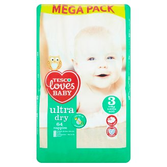 Tesco Loves Baby Ultra Dry Plenky 3 midi mega balení 64 ks