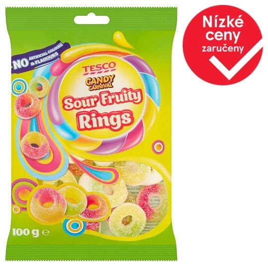 Tesco Candy Carnival Sour Fruity Rings želé s ovocnými příchutěmi s kyselou cukrovou posypkou 100g