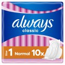 Always Classic Sensitive Normal Sanitary Towels Wings 10x