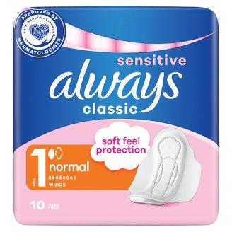 Always Classic Sensitive Normal Hygienické Vložky SKřidélky 10ks