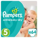 Pampers Active Baby-Dry S5, 64 Nappies, Up To 12H Of Dryness