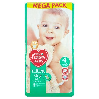 Tesco Loves Baby Ultra Dry Plenky 4 maxi mega balení 54 ks