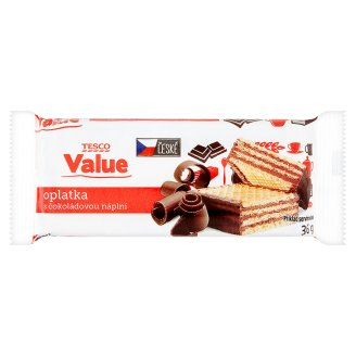 Tesco Value Wafers with Chocolate Filling 36g