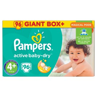 Pampers Active Baby-Dry Velikost 4+ (Maxi+), 96 Dětské Plenky