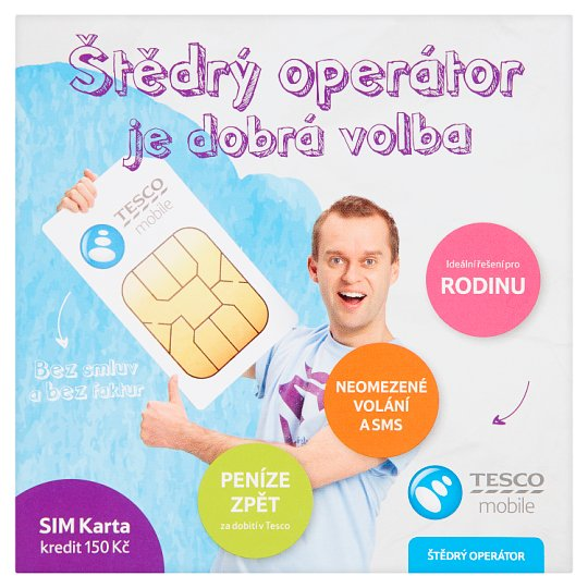 Tesco Mobile Christmas Card Operator SIM Card Credit CZK 150