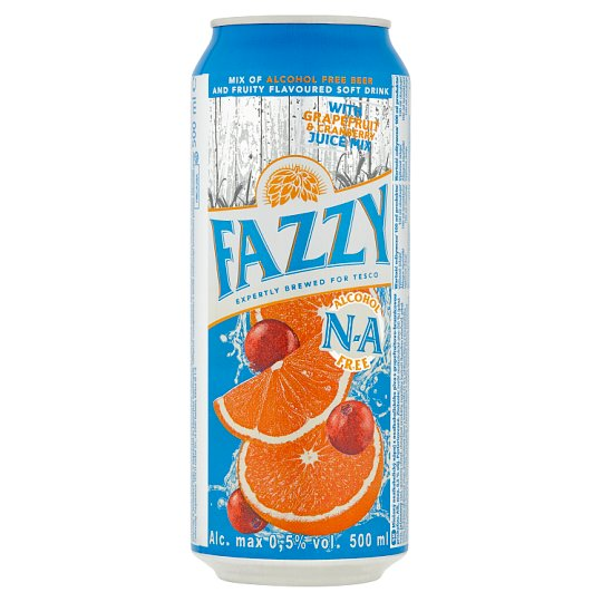 Fazzy Soft Drink Mixed with Non-alcoholic Beer with Flavor Grapefruit and Cranberry 500ml