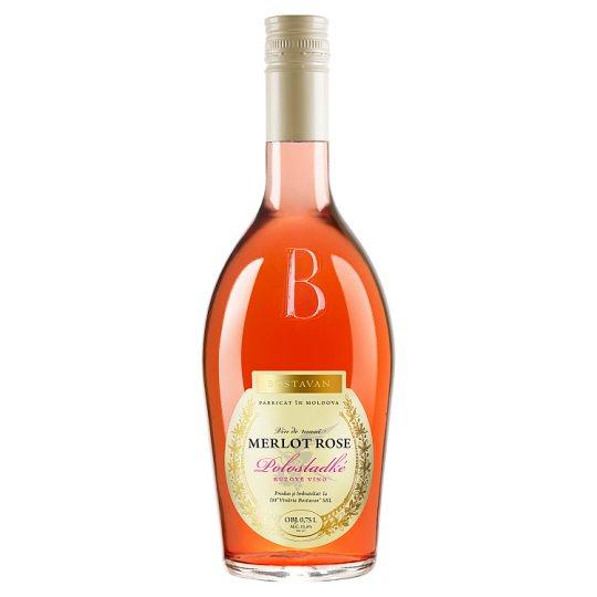 Bostavan Gold Merlot Rose polosladké růžové víno 12% 0,75l