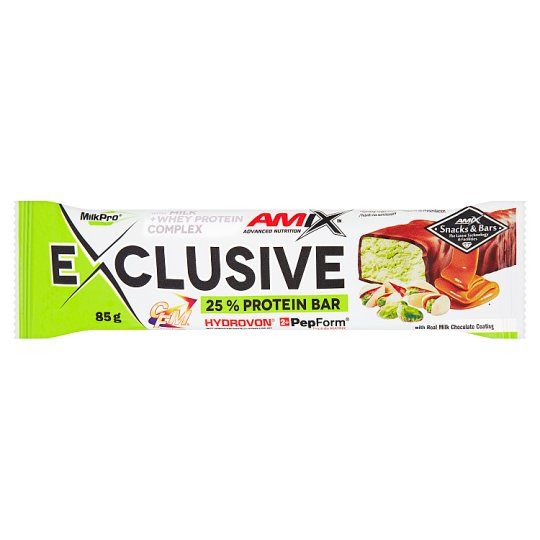 Amix Exclusive Pistácie & karamel proteinová tyčinka 85g