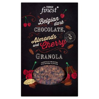 Tesco Finest Baked Muesli with Belgian Dark Chocolate, Almonds, Cocoa Beans and Cherries 500g