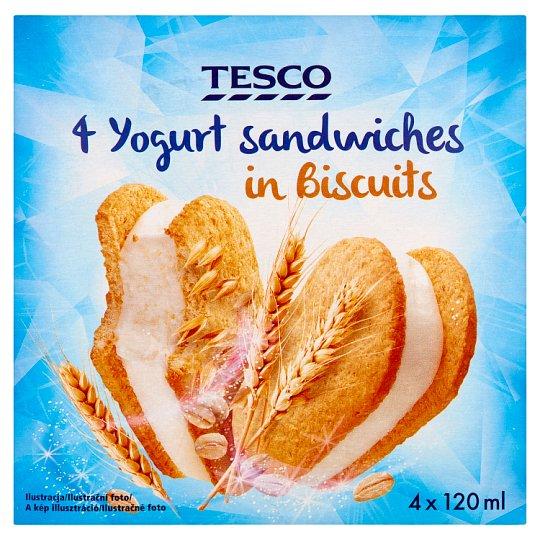 Tesco Mražený krém s jogurtem v cereálních sušenkách 4 x 120ml
