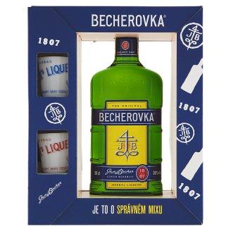 Becherovka Original Herbal Liqueur with 2 Porcelain Cups 50cl