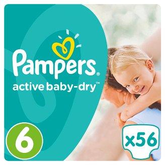 Pampers Active Baby-Dry Dětské Plenky Velikost 6 (Extra Large), 56 ks