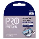 Tesco Pro Formula For Men Diamond 5 Blade Razor System Replacement Heads 4 pcs