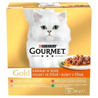 GOURMET Gold Multipack kousky ve šťávě se zeleninou 8 x 85g