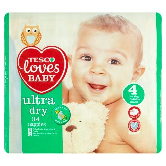 Tesco Loves Baby Ultra Dry Plenky 4 maxi 34 ks