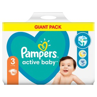 Pampers Diapers Size 3, 90 Nappies, 6-10 kg