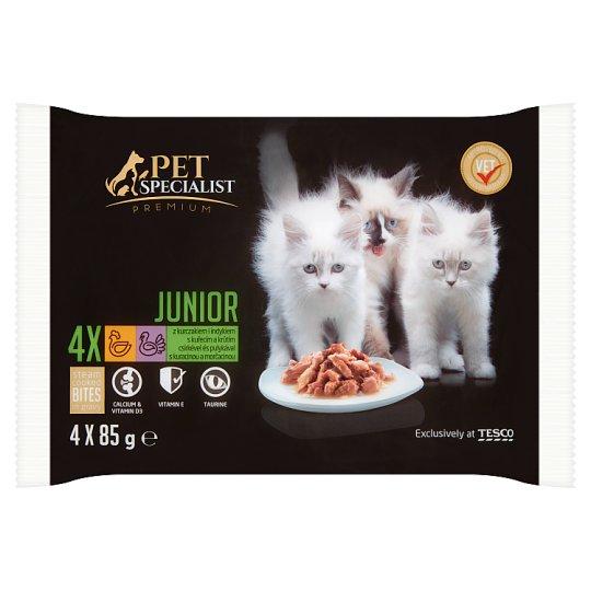 Tesco Pet Specialist Premium Junior s kuřecím a krůtím v omáčce 4 x 85g