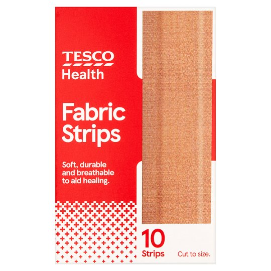 Tesco Fabric Textilní náplast 10 cm x 6 cm 10 ks