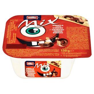 Müller Mix Vanilla Flavoured Yoghurt + Crunchy Choco Donuts 130g