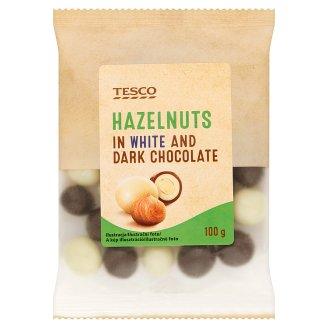 Tesco Lískové ořechy jádra pražená v hořké čokoládě a v bílé čokoládě 100g