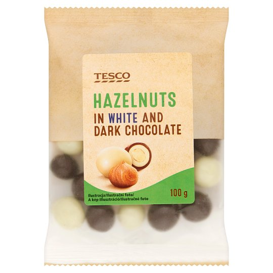Tesco Hazelnuts in White and Dark Chocolate 100g