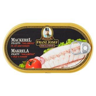 """Kaiser Franz Josef Exclusive Makrela filety """"Salamina"""" v oleji a tomatě 170g"""
